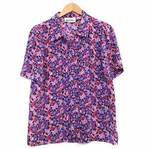 VINTAGE Pink Blue Floral Short Sleeve Button Down